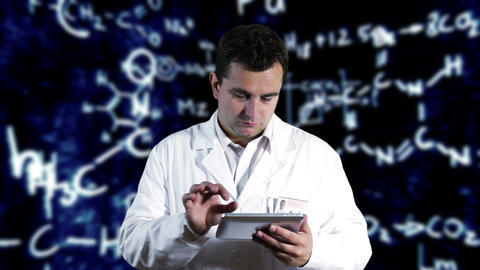 Scientist using Tablet PC with Scientific Chemistry Background 3 Footage