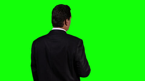 Young Businessman Back Touchscreen Greenscreen 5 Stock Video Footage