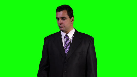 Young Businessman Touchscreen Greenscreen 2 Stock Video Footage