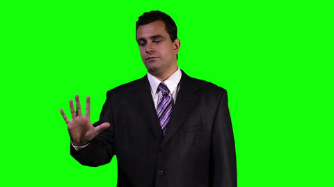 Young Businessman Touchscreen Greenscreen 2 Footage