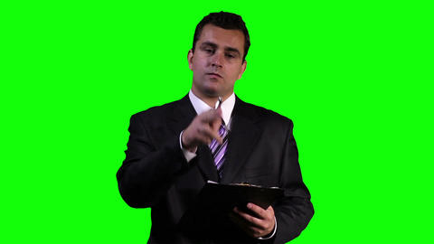 Young Businessman Touchscreen Greenscreen 7 Footage