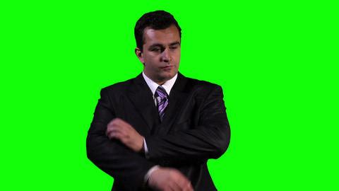 Young Businessman Virtual Project Table Touchscreen Greenscreen 9 Footage
