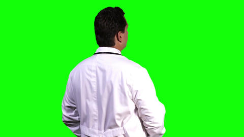 Young Doctor Back Touchscreen Greenscreen 8 Footage