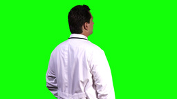 Young Doctor Back Touchscreen Greenscreen 8 Stock Video Footage