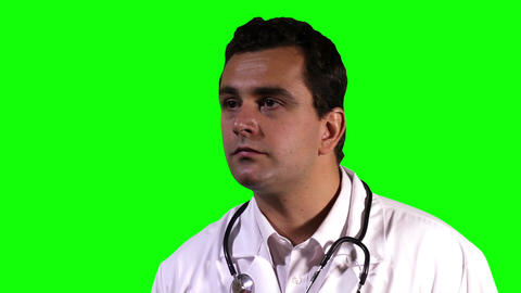 Young Doctor Retina Check Touchscreen Closeup Greenscreen 18 Stock Video Footage