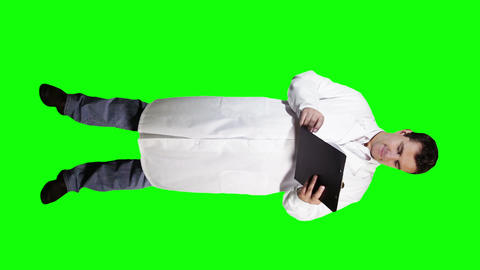 Young Doctor Scientist Full Body Checking Documents Good... Stock Video Footage