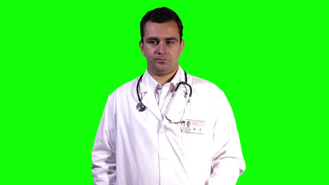 Young Doctor Touchscreen Bad News Greenscreen 2 Stock Video Footage