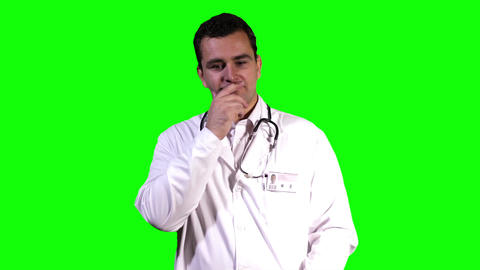 Young Doctor Touchscreen Greenscreen 1 Footage