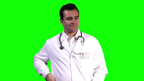 Young Doctor Touchscreen Greenscreen 1 Stock Video Footage