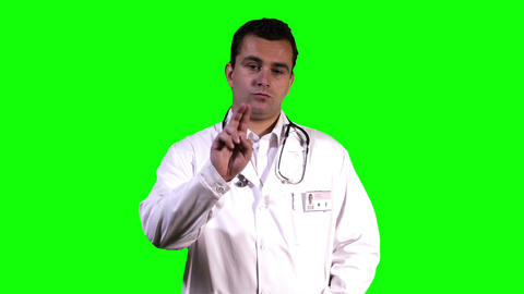 Young Doctor Virtual Table Touchscreen Greenscreen 15 Stock Video Footage