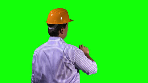 Young Engineer Back Touchscreen Greenscreen 1 Footage