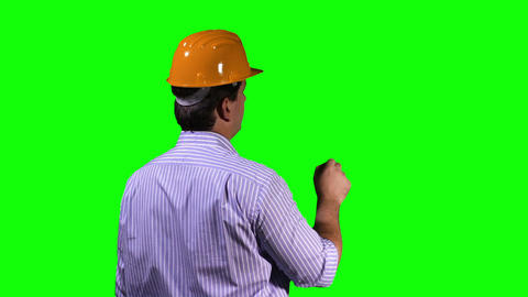Young Engineer Back Touchscreen Greenscreen 1 Stock Video Footage