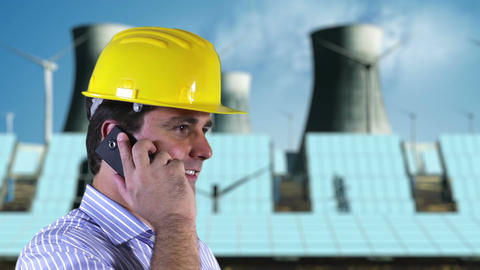 Young Engineer Cell Phone Energy Concept 1 Stock Video Footage