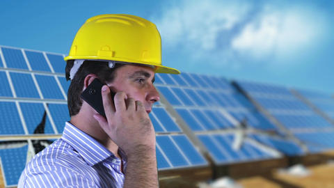 Young Engineer Cell Phone Energy Concept 3 stock footage