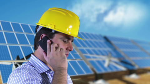 Young Engineer Cell Phone Energy Concept 3 Stock Video Footage
