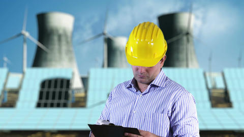 Young Engineer Checking Documents and Signs Energy Concept 1 Stock Video Footage