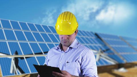 Young Engineer Checking Documents and Signs Energy Concept 3 Stock Video Footage