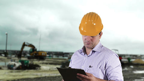 Young Engineer Construction Site 5 Stock Video Footage