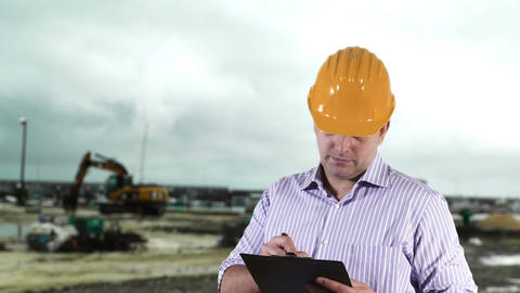 Young Engineer Construction Site 7 Stock Video Footage