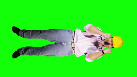 Young Engineer Happy Full Body Greenscreen 82 Stock Video Footage