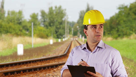 Young Engineer Making Notes Railway 3 Stock Video Footage