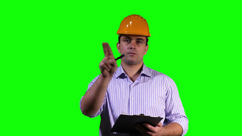Young Engineer Making Notes Touchscreen Greenscreen 6 Footage