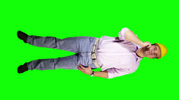 Young Engineer Phone Good News Full Body Greenscreen 26 Stock Video Footage