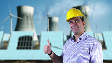 Young Engineer Satisfied Thumbs Up Energy Concept 1 Stock Video Footage