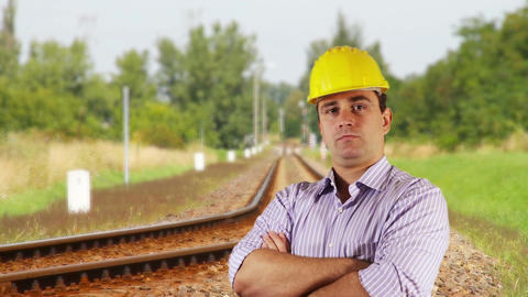 Young Engineer Serious Railway 4 Stock Video Footage