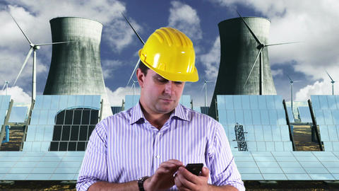 Young Engineer Smart Phone Energy Concept 2 Stock Video Footage