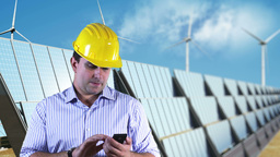 Young Engineer Smart Phone Energy Concept 4 Stock Video Footage