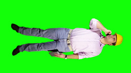 Young Engineer Tablet PC Phone Full Body Greenscreen 35 Stock Video Footage