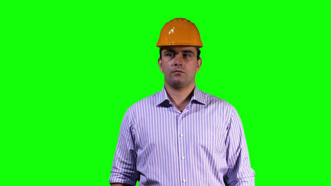 Young Engineer Touchscreen Greenscreen 4 Stock Video Footage