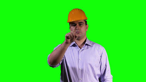 Young Engineer Touchscreen Greenscreen 4 Footage