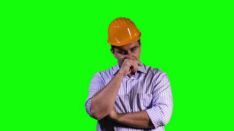 Young Engineer Touchscreen Greenscreen 8 Stock Video Footage