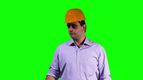 Young Engineer Virtual Table Happy Touchscreen Greenscreen 9 Stock Video Footage