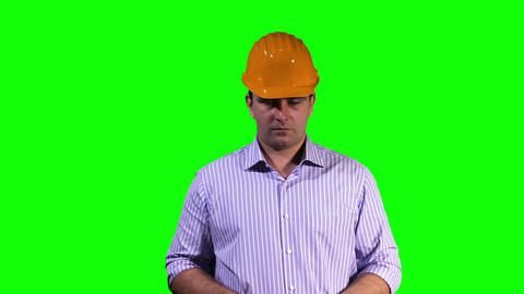 Young Engineer Virtual Typing Touchscreen Greenscreen 3 Stock Video Footage