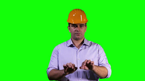 Young Engineer Virtual Typing Touchscreen Greenscreen 3 Footage