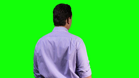 Young Man Back Touchscreen Greenscreen 12 Stock Video Footage