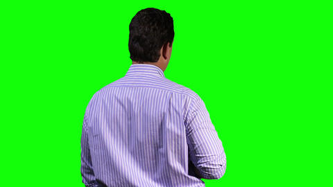 Young Man Back Touchscreen Greenscreen 12 Footage