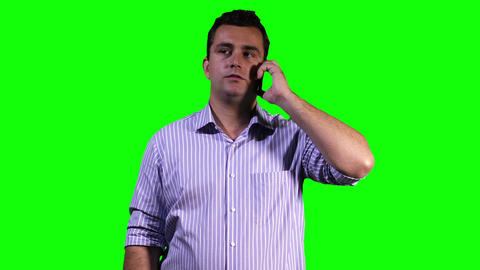 Young Man Phone Touchscreen Greenscreen 13 Stock Video Footage