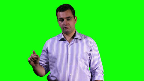 Young Man Touchscreen Greenscreen 11 Stock Video Footage
