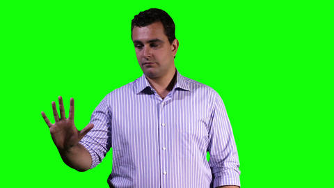 Young Man Touchscreen Greenscreen 11 Footage
