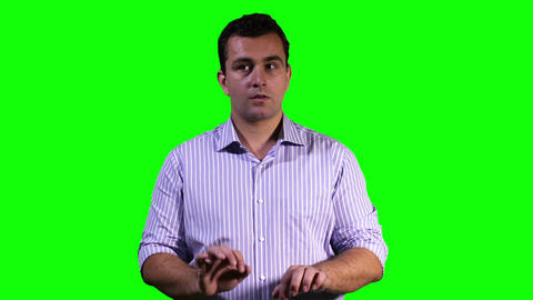 Young Man Virtual Project Table Touchscreen Greenscreen 16 stock footage