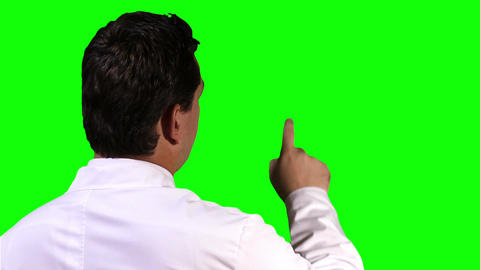 Young Scientist Back Touchscreen Closeup Greenscreen 13 Footage