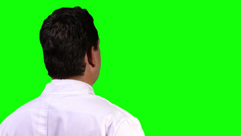 Young Scientist Back Touchscreen Closeup Greenscreen 13 Stock Video Footage