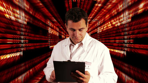 Scientist Checking Documents Numbers Tunnel Background 1 Stock Video Footage