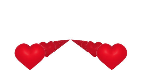 Red hearts flying towards camera on white background Stock Video Footage