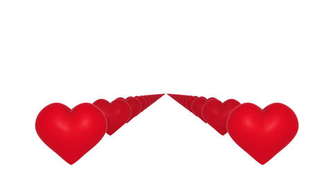 Red hearts flying towards camera on white background Animation