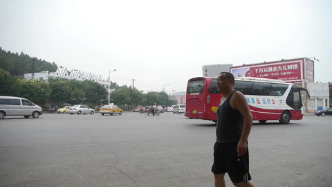 Urban town busy road traffic,Pedestrians walking on streets.Asia China Chinese p Footage